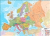 European Political Wall Map with flags. Politically colored wall map of Europe features countries marked in a different color, with international boundaries shown. All major towns and cities are featured within our large map of Europe. The map contains hi