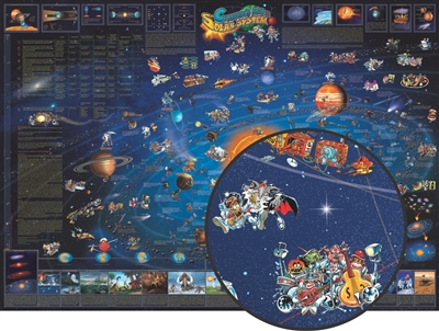 Illustrated Map of the Solar System. Children can explore the heavens with this beautifully illustrated wall map. It features colorful cartoon icons making the map educational & fun. Next to each illustrated significant space mission is its name & referen