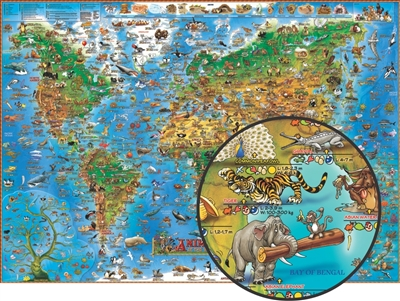 Animals of the World Illustrated Kids Map - Laminated. Animals of the World will provide children and all those who feel young at heart with a beautifully designed, educational, and playful map. This map is very educational because through concept and ill