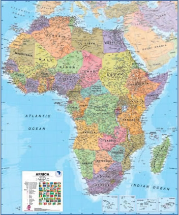 Map Of Africa And Surrounding Countries.Africa Maps International Wall Map
