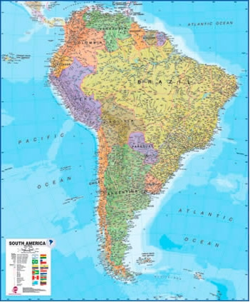 South America Maps International Wall Map