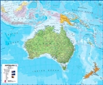 Australia & New Zealand Wall Map - political version.This political wall map of Australia features countries marked in different colours, with international borders clearly shown. The map's key shows the flags from the countries displayed in this map (Aus