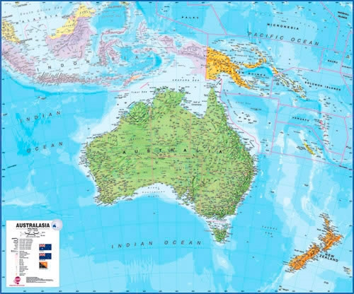 Political Map Of New Zealand.Australia New Zealand Wall Map Political Version