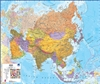 Asia Wall Map. This political wall map of Asia features countries marked in different colours, with international borders clearly shown. Shows countries like China, India, Russia, Japan, Thailand and many more. The map key shows the flags from the countri