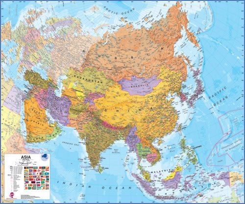 Asia Maps International Wall Map Key Map Of Asian Countries on world map with countries, map of canada, map of taiwan, map of israel, map of africa, map of ukraine, map of middle east, map of world countries, map of thailand, map of united states, map of european, map of alaska, map of mediterranean countries, map of eastern countries, map of norway, map of europe, map of asia, map of cambodia,