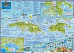 US Virgin Islands Travel Map. This waterproof map displays St. Thomas & St. John on one side of the map, while St. Croix is on the reverse. Information includes: scuba diving, snorkeling, boating, fishing, beaches, exploring, accommodations, and historica