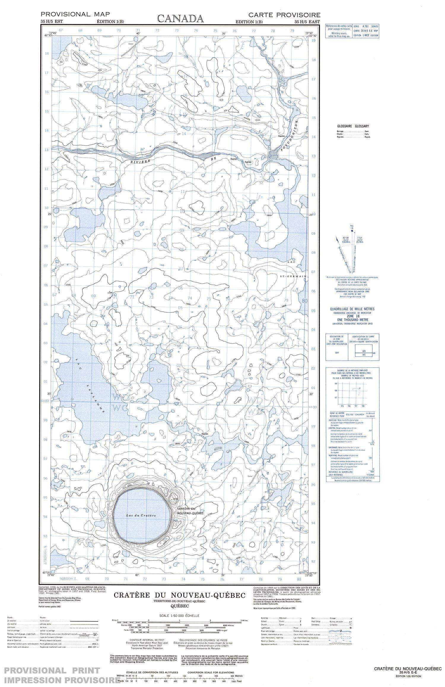 Quebec Topographic Map.035h05e Cratere Du Nouveau Quebec Topographic Map