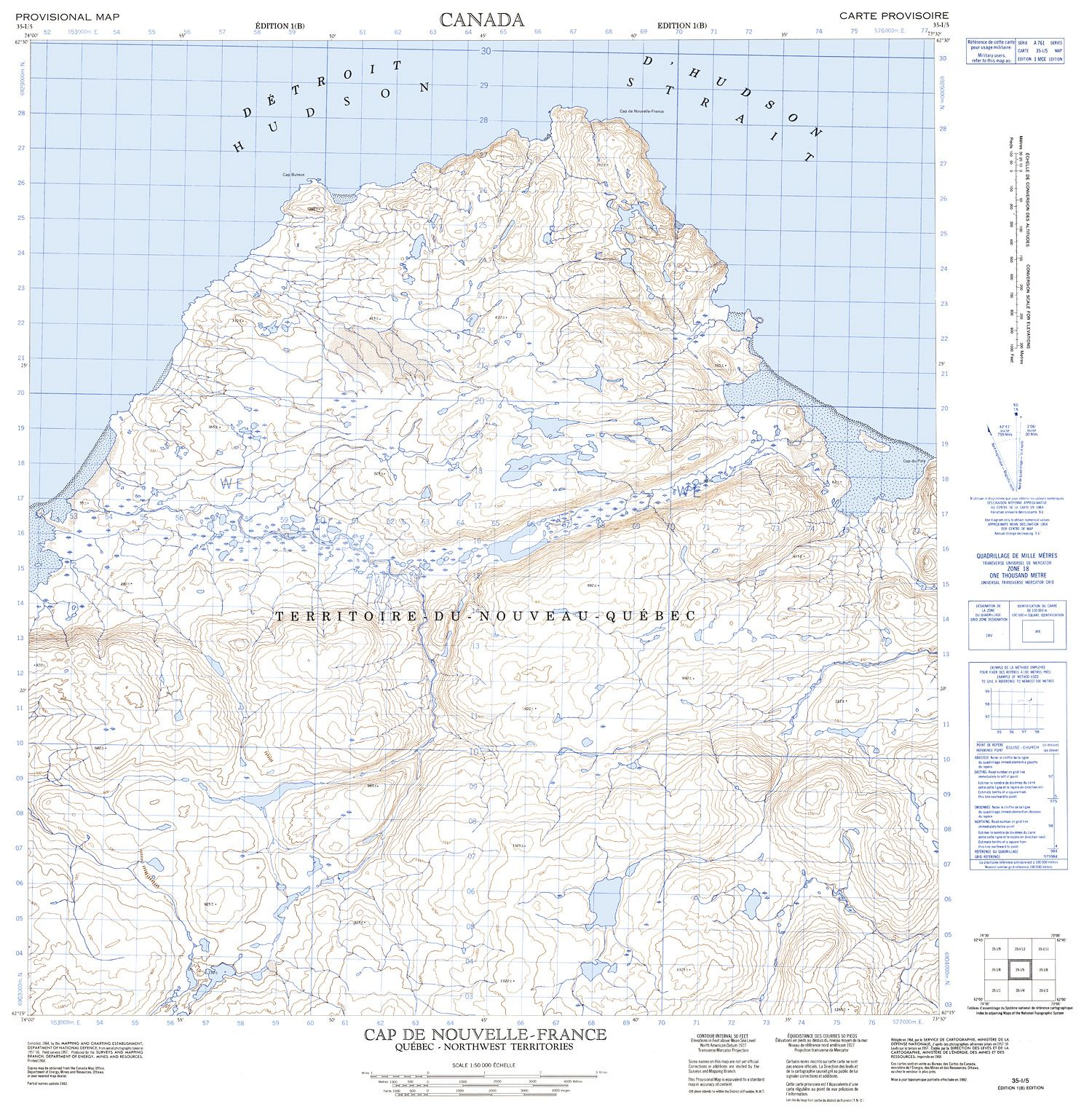 035i05 Cap De Nouvelle France Topographic Map