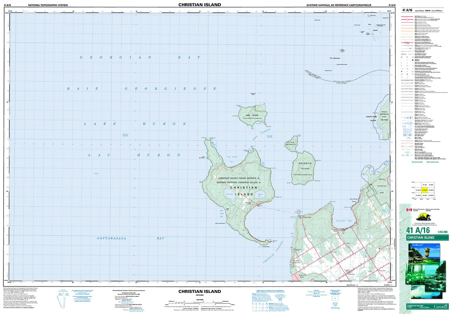 041a16 Christian Island Topographic Map