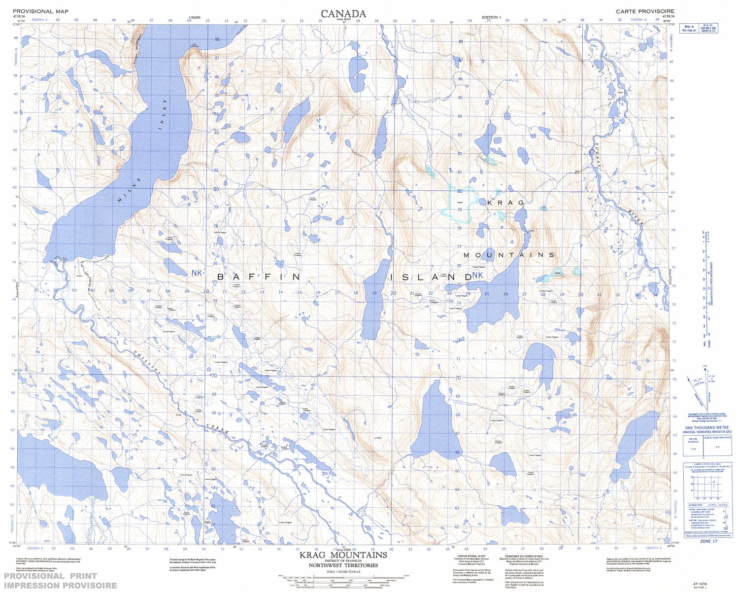 Topographic Map Mountains.047h16 Krag Mountains Topographic Map