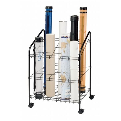 Map Holder and Display System - 20 Slots. This map storage system has 20 openings that are 4 inches by 4 inches square. Includes four locking casters, durable black powder coated finish and 5/8 inch diameter side tubes. Perfect for quick access to your fi