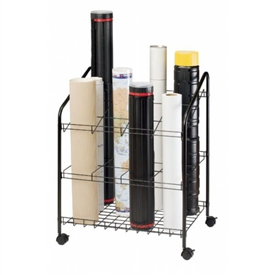 Map Holder and Display System - 12 Slots. This map storage system has 12 openings that are 5 inches by x 5 inches square. Includes four locking casters, durable black powder coated finish and 5/8 inch diameter side tubes. Perfect for quick access to your