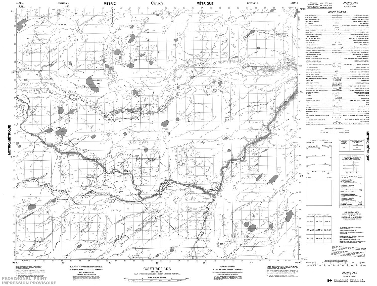 053m16 Couture Lake Topographic Map