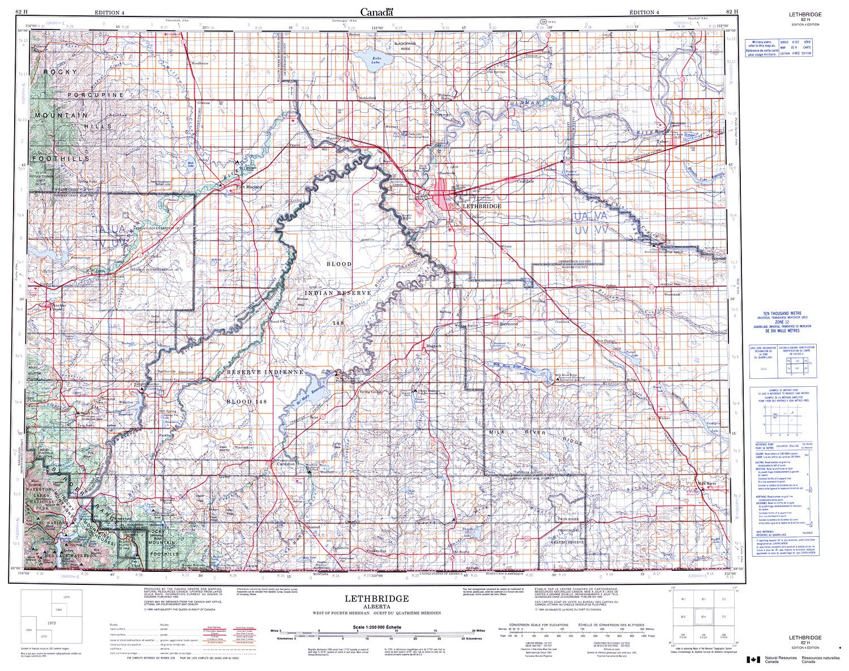 082H - LETHBRIDGE - Topographic Map