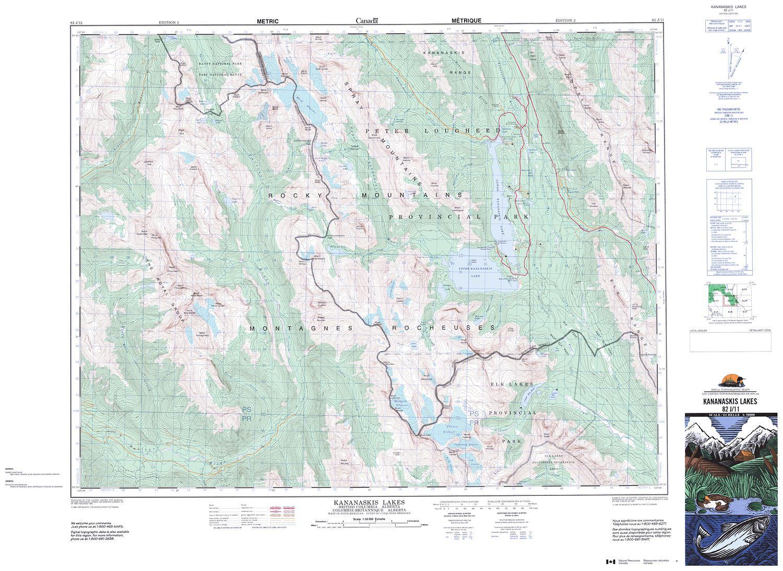082j11 kananaskis lakes topographic map