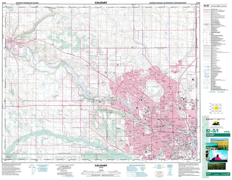 082o01 Calgary Topographic Map