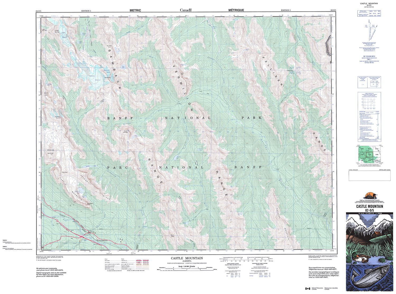 Topographic Map Mountain.082o05 Castle Mountain Topographic Map