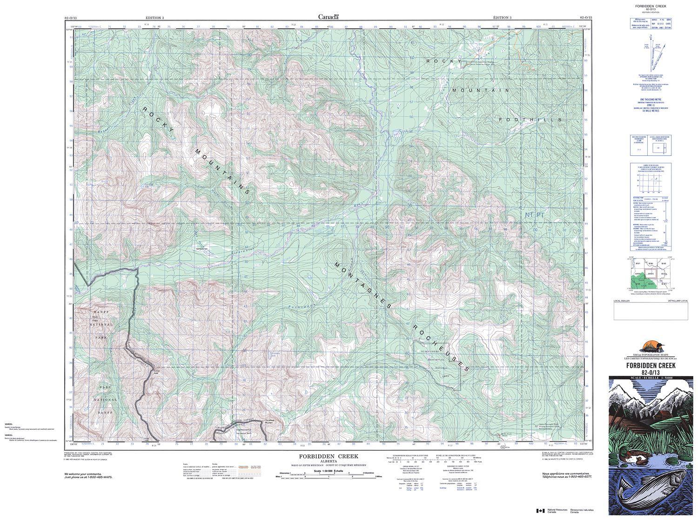 082O13 - FORBIDDEN CREEK - Topographic Map on wainwright canada, grande prairie canada, cold lake canada, bentley canada, crowsnest pass canada, medicine hat canada, peace river canada, taber canada, beaverlodge canada, spruce grove canada, hinton canada, hardisty canada, lacombe canada, fort mcmurray canada,