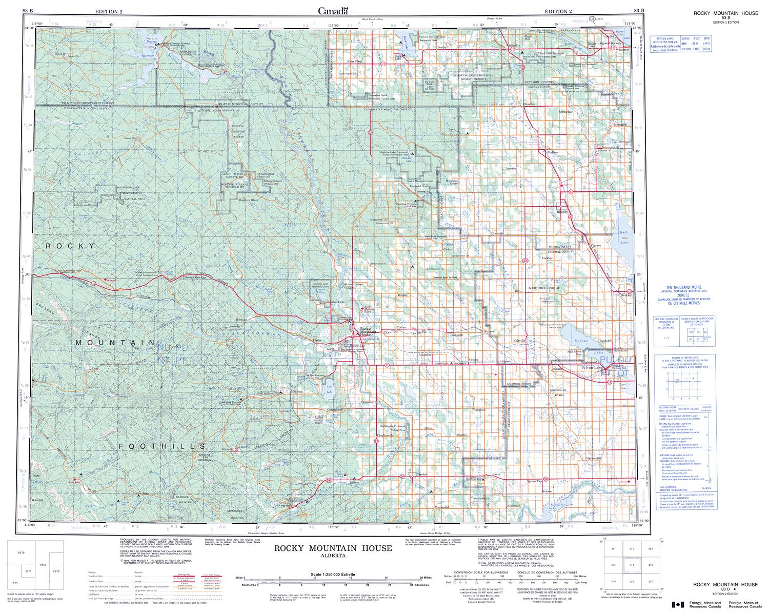 Topographic Map Rocky Mountains.083b Rocky Mountain House Topographic Map