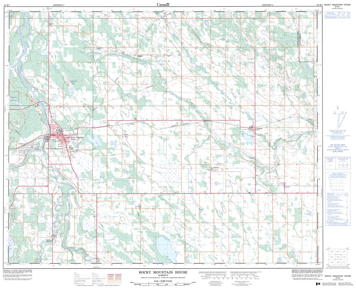 Topographic Map Rocky Mountains.083b07 Rocky Mountain House Topographic Map