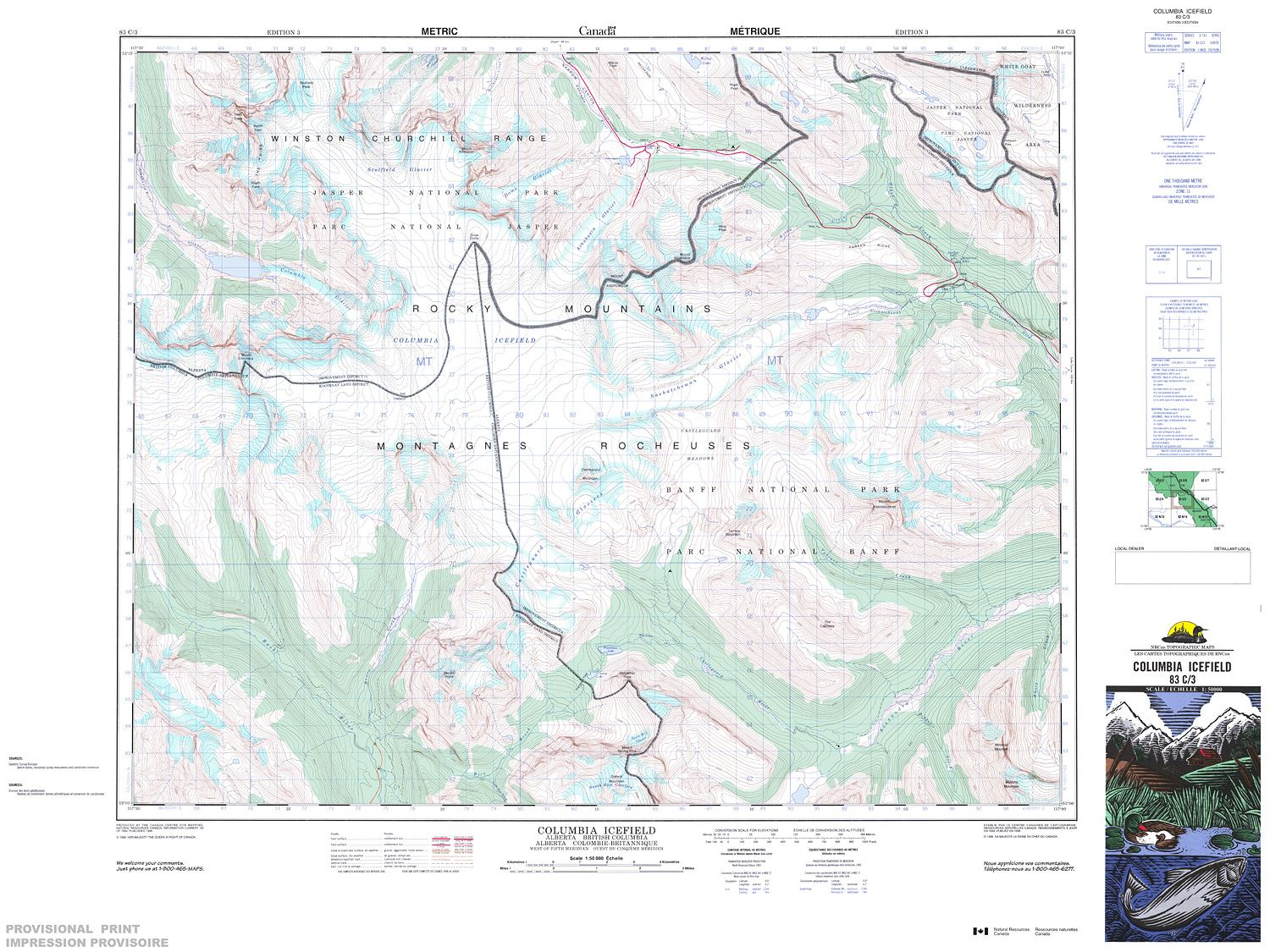 Columbia Canada Map.083c03 Columbia Icefield Topographic Map