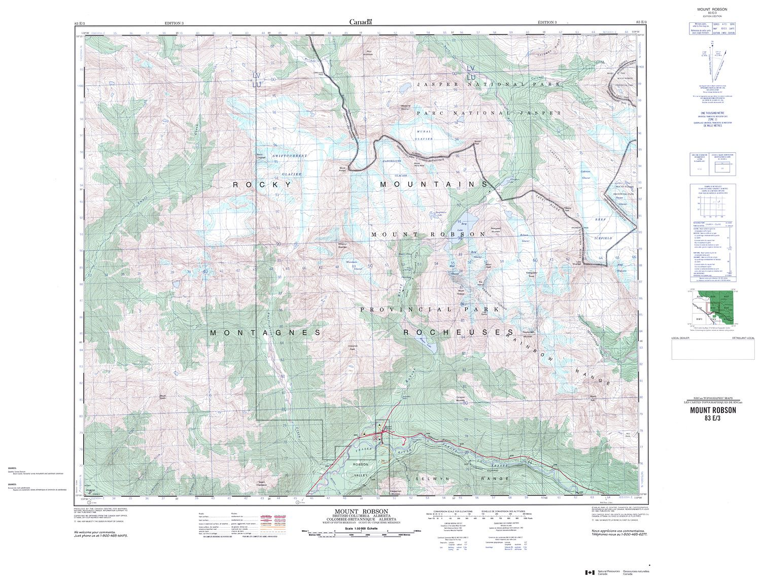 083e03 Mount Robson Topographic Map