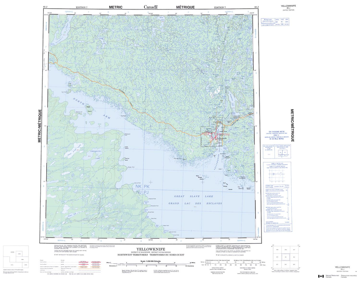Map Of Canada Yellowknife.085j Yellowknife Topographic Map
