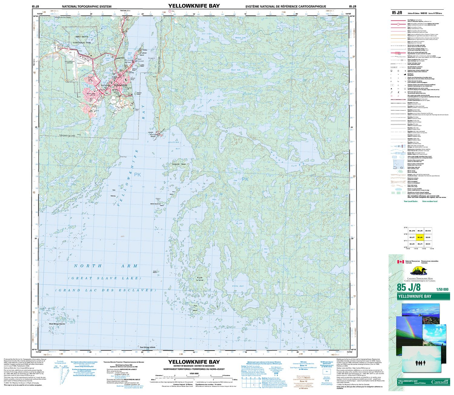 Map Of Canada Yellowknife.085j08 Yellowknife Bay Topographic Map