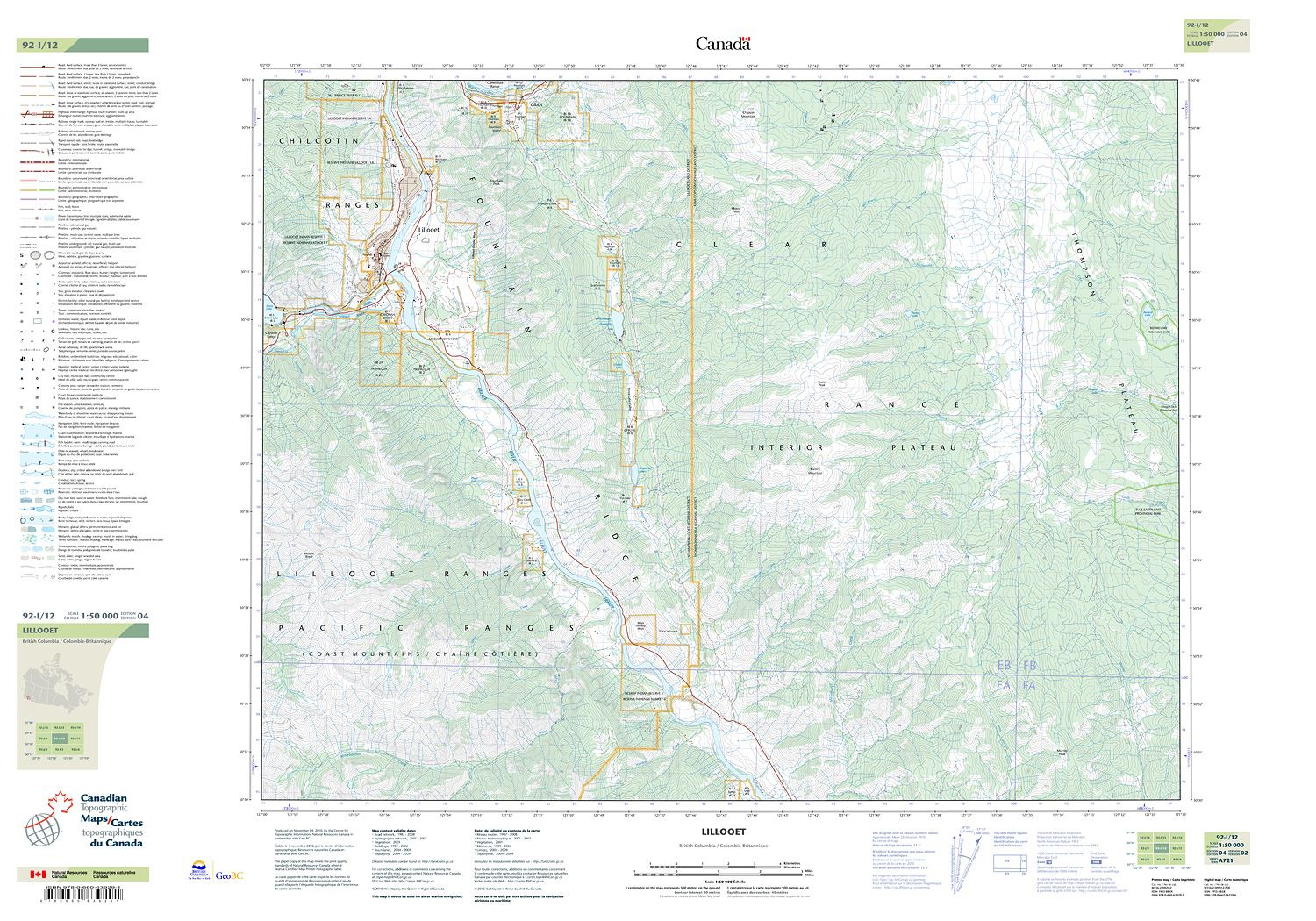 Topographic Map Of Colombia.092i12 Lillooet Topographic Map