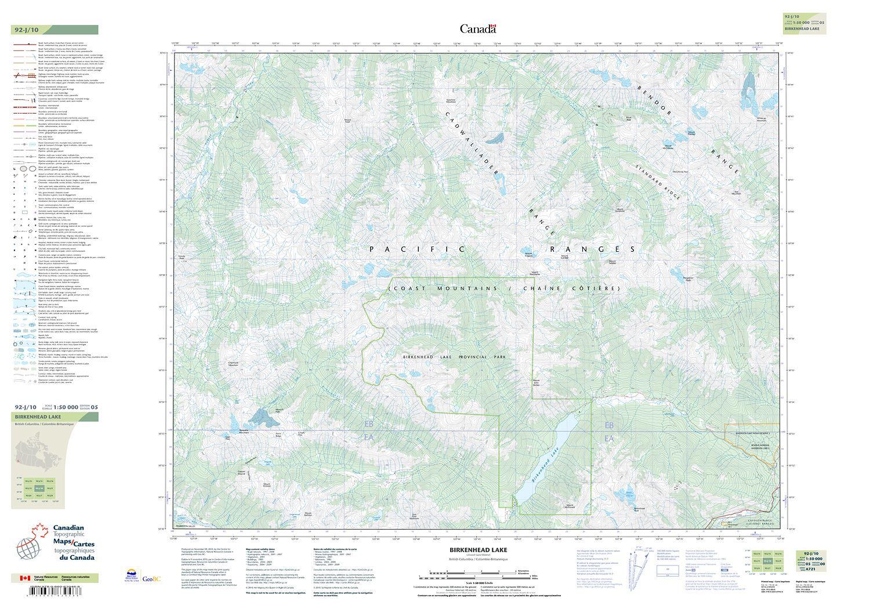 092J10 - BIRKENHEAD LAKE - Topographic Map