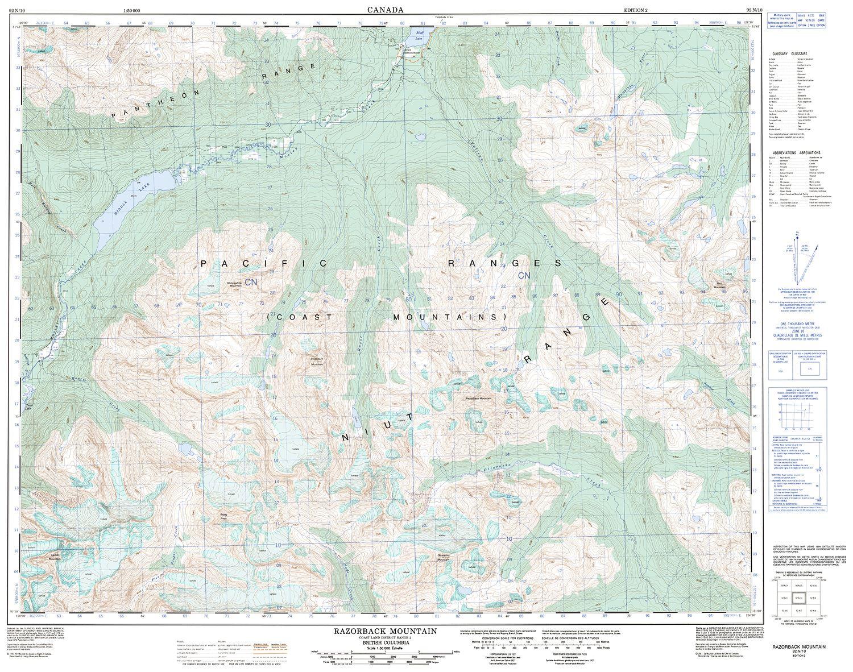 Topographic Map Mountains.092n10 Razorback Mountain Topographic Map