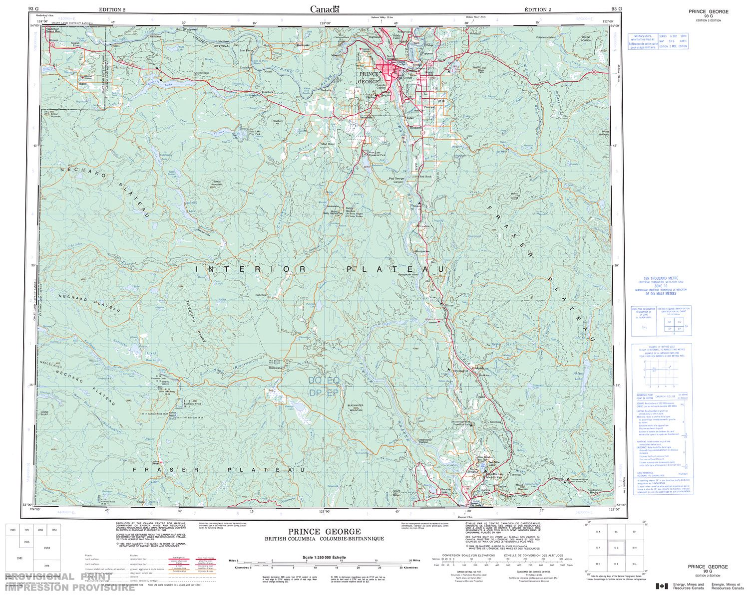 Prince George Canada Map.093g Prince George Topographic Map
