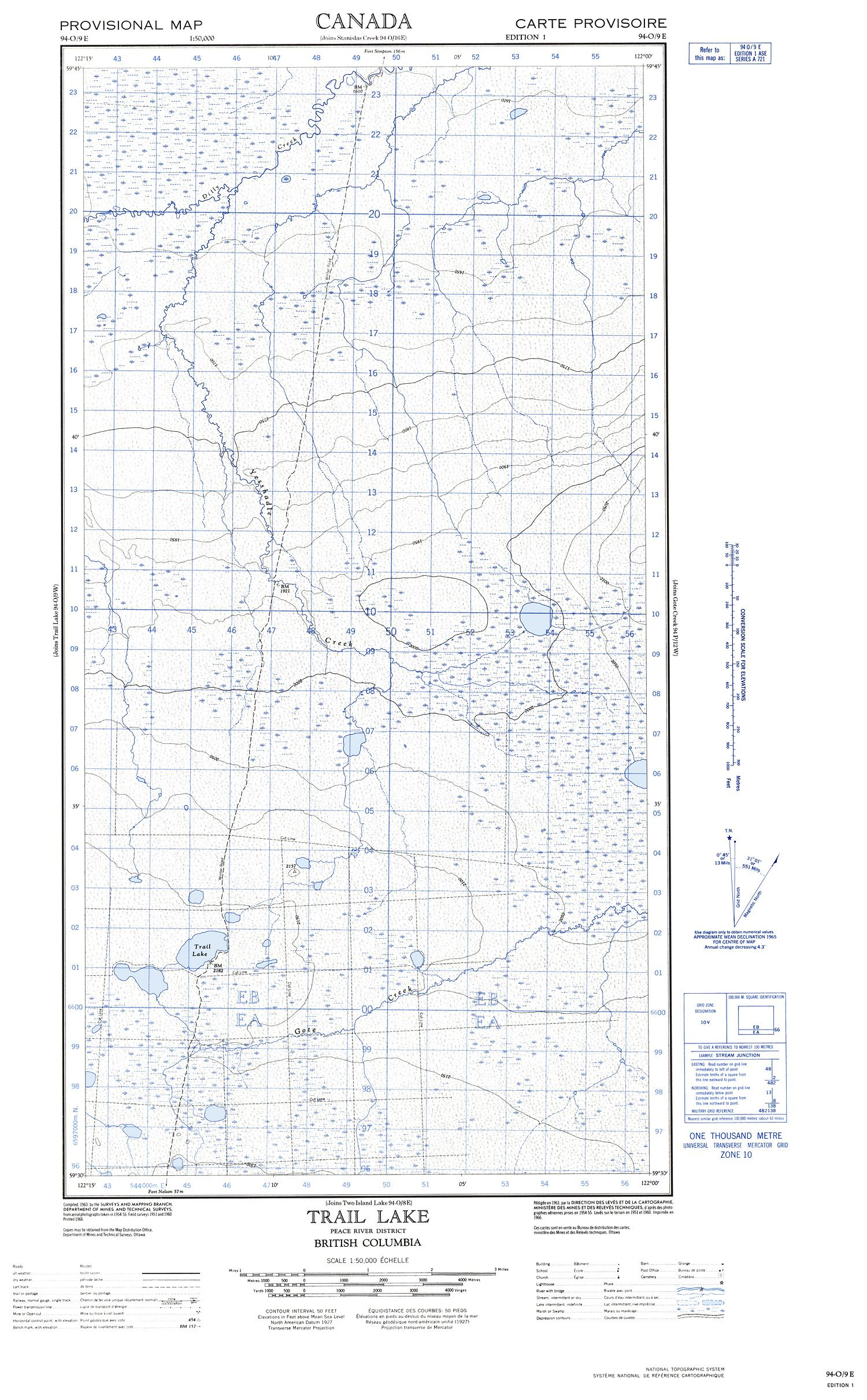094O09E - TRAIL LAKE - Topographic Map
