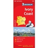 Ivory Coast of Africa Travel & Road Map. Michelin maps show features in shaded relief maps with some spot elevations. The roads are high lighted, with road numbers and distances well marked. Multilingual legends show points of interest such as historic si