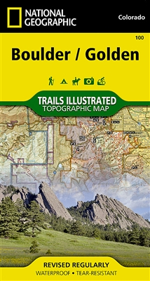 Boulder and Golden Colorado hiking trails map. Features key points of interest including Boulder Mountain Park, Clear Creek, Golden Gate Canyon State Park, Alderfer/Three Sisters Park, Lookout Mountain, and the iconic Red Rocks amphitheater. The communit