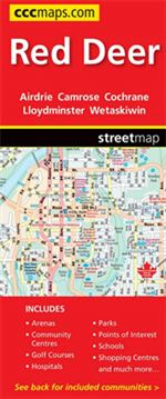 Red Deer & Area Travel Road map. Includes city maps of: Airdrie, Camrose, Cochrane, Drayton Valley, Drumheller, Innisfail, Irricana, Lacombe, Lloydminster, Olds, Ponoka, Red Deer, Rocky Mountain House, Stettler, Sylvan Lake, Wainwright and Wetaskiwin. The