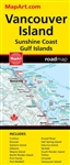 Vancouver Island Sunshine Coast & the Gulf Islands road map. Full colour map features detailed large scale road information for Vancouver Island and the Sunshine Coast and also includes city maps of Campbell River, Courtenay, Comox, Gibsons, Parksville, P