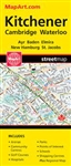 Kitchener Cambridge Waterloo ONTARIO road map. Detailed road map of Kitchener showing transportation, recreation, commercial, service, culture, boundary, education, water and land designations. Includes Cambridge, Waterloo, Ayr, Baden, Elmira, New Hamburg