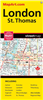 London & St. Thomas Ontario Travel Road map. Includes city maps of Aylmer, Delaware, Dorchester, Ingersoll, Kilworth, Komoka, Lambeth, London, Mount Brydges, St. Thomas, Strathroy, and Tillsonburg. Map Features include: Parks Golf courses Points of intere