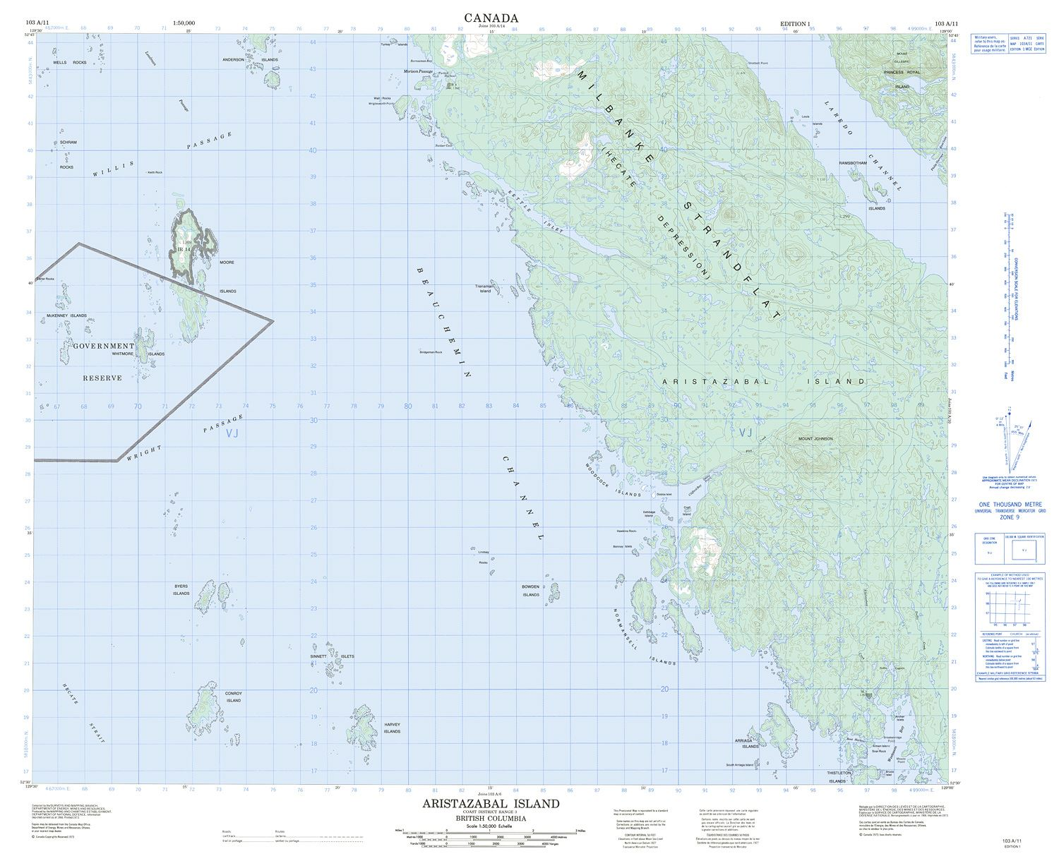 103a11 Aristazabal Island Topographic Map