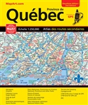 Quebec travel & road atlas. This large scale road atlas allows you to see all the names and numbers of the Provinces backroads and Highways and is GPS Compatible. Incluant les listes d'evenements/Includes Events Listing, Aeroports/Airports, Cabanes a sucr