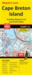 Cape Breton & Sydney Nova Scotia travel road map. Cape Breton Island and Sydney Truro are included on the same foldout map. Includes Cape Breton Island communities of Baddeck, Dominion, Glace Bay, Louisburg, New Waterford, North Sydney, Port Hawkesbury, S