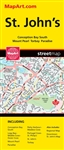St. John's Newfoundland street map. This map is a must-have for anyone travelling in St. John's, Newfoundland. Includes communities of Conception Bay South, Logy Bay-Middle Cove-Outer Cove, Mount Pearl, Paradise, Petty Harbour-Maddox Cove, Portugal Cove-S