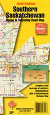Southern Saskatchewan road map with grid roads. This is an easy to read map with lots of detail and complete road coverage of southern Saskatchewan. It also includes township and range roads plus a distance map between urban places.