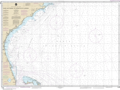 NOAA Chart 11009. Nautical Chart of the Gulf Coast - Cape Hatteras to Straits of Florida. NOAA charts portray water depths, coastlines, dangers, aids to navigation, landmarks, bottom characteristics and other features, as well as regulatory, tide, and oth