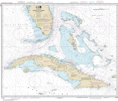 NOAA Chart 11013. Nautical Chart of Straits of Florida and Approaches - Gulf Coast. Includes all of Cuba. NOAA charts portray water depths, coastlines, dangers, aids to navigation, landmarks, bottom characteristics and other features, as well as regulator