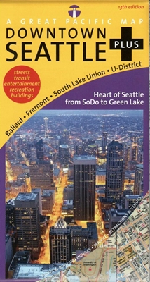 Downtown Seattle Washington city map. This comprehensive map covers downtown Seattle and Greater Seattle from Lynnwood to Federal Way, plus Ballard, Fremont, South Lake Union & U-District map  It includes enlargements of Edmonds, Ship Canal, Bellevue, Kir