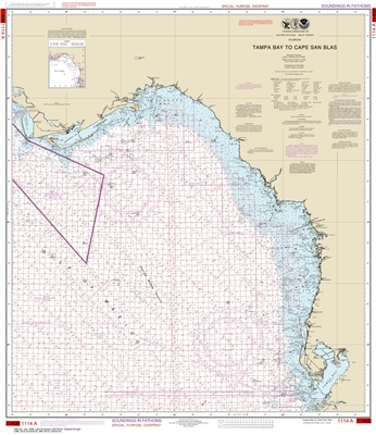 NOAA Chart 1114A. Nautical Chart of Tampa Bay to Cape San Blas - Oil and Gas Lease Areas - Gulf of Mexico. NOAA charts portray water depths, coastlines, dangers, aids to navigation, landmarks, bottom characteristics and other features, as well as regulato