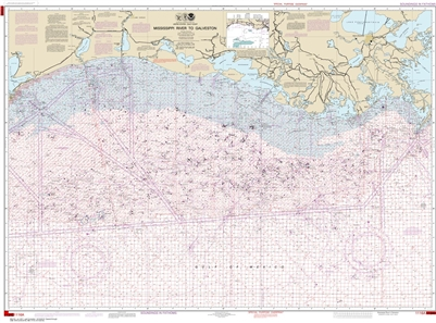 NOAA Chart 1116A. Nautical Chart of Mississippi River to Galveston - Oil and Gas Lease Areas - Gulf of Mexico. NOAA charts portray water depths, coastlines, dangers, aids to navigation, landmarks, bottom characteristics and other features, as well as regu