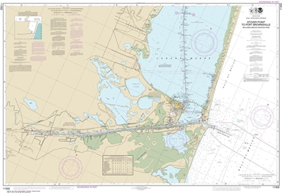 NOAA Chart 11302. Nautical Chart of Intracoastal Waterway Stover Point to Port Brownsville, including Brazos Santiago Pass - Gulf of Mexico. NOAA charts portray water depths, coastlines, dangers, aids to navigation, landmarks, bottom characteristics and o